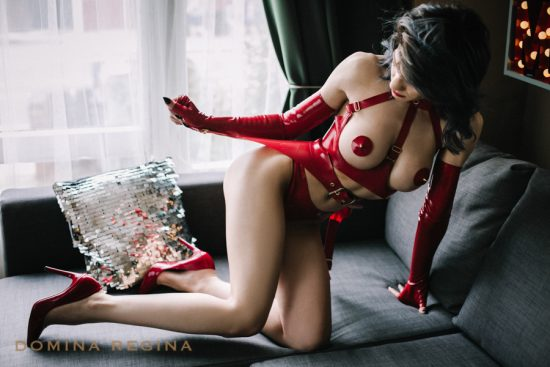 gorgeous domina Gina Regina wearing red shiny latex