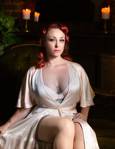 Miss Kendal strict yet sensual in vintage lingerie photoshoot