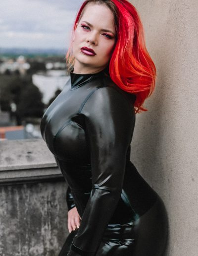 Lady Allegra Wilde in latex at the Clock Tower photography studio sth London
